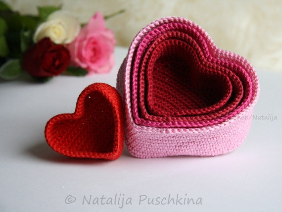 Valentine Gift package - HEART. Crochet Pattern for 5 Basket - heart. Crochet Organizer containers - heart.  DIY Gift wrapping. Jeweler box