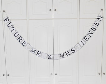 FREE SHIPPING, Future Mr & Mrs...customize your name banner, Bridal shower decorations, Bachelorette party, Wedding banner, Engagement party