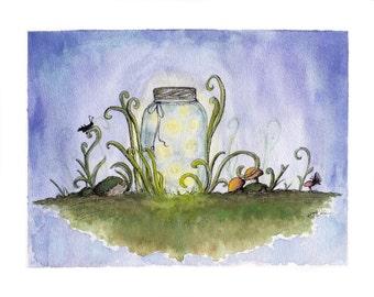 Jar of Fireflies Watercolor Illustration Print
