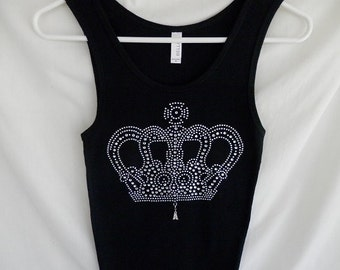 Rhinestone Crown Tank Top, With A Removable Initial Charm Attached. All Initials Are Available. Princess, Queen, Diva, Tank Top
