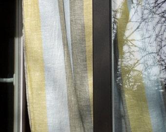 Tab top curtain panel striped semi sheer gauzy linen curtains pale blue mustard khaki washed curtains