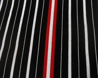 Black and white with red stripes handwoven fabric, crafting fabric, craft supplies, durable fabric, upholstery fabric, sold per yard