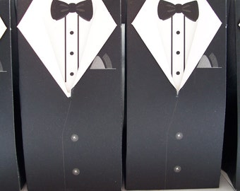 10 Tuxedo groom/graduation party favour boxes - wedding favour boxes - groomsmen favours - groom wedding favours - grad party