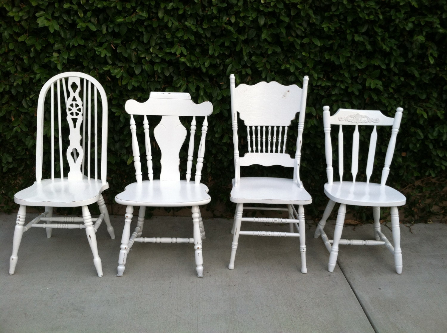 Mismatched dining chairs set of 4 white shabby by for Dining chairs 4 set
