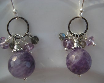 Earrings with amethyst and labradorite beads