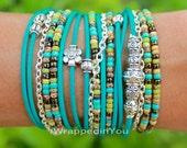 Turquoise Boho LEATHER Wrap Chain Bracelet - Tibetan Style Bohemian Distressed Leather Triple Wrap w/ Silver Chain - USA Seller - 168