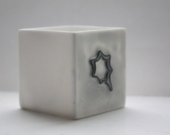 Small snow white cube made from English fine bone china and embossed star shape pattern - geometric decor