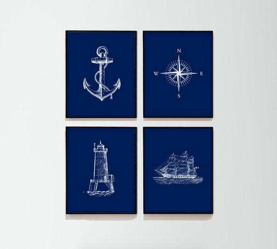 Navy Nautical Set Of 4 Art Prints Navy Blue & White By