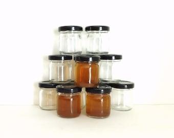 rustic wedding shot glasses, small jars, sample jars, bulk jars, mini mason jars, shot glasses, candle jars, jars with black lids