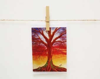 Note / Gift Card - Full Moon Fairy Tree Sunset Art featuring my Watercolour Painting