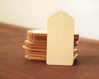 10 Wooden Tags, Shipping Tags, Gift Tags 35x70mm