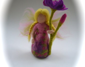 Hand-felted. Wet  felted. Waldorf. Felted. Blossum flower fairy.flower child.