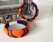African print funky mama hoop earrings, ankara jewelry, orange & chocolate brown