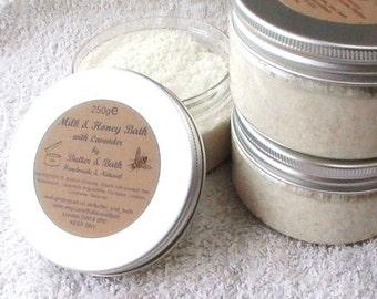 Unscented Milk & Honey Bath Soak- All Natural Milk Bath with Goat's Milk, Honey, Sea Salt, Fragrance free Spa Bath Soak