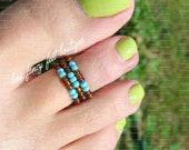 Stacking Toe Ring - Turquoise Topaz Pattern Stretch Bead Toe Ring
