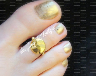 Toe Ring - Round Gold Nugget - Gold Stretch Bead Toe Ring