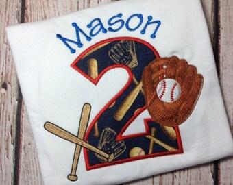 Baseball birthday shirt - baseball - glove - bat - boys