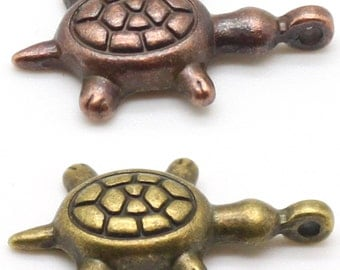 1 Terrapin Charm - Nickel Free Tibetan Silver Alloy- Choose Bronze or Copper - DIY Jewelry Crafts