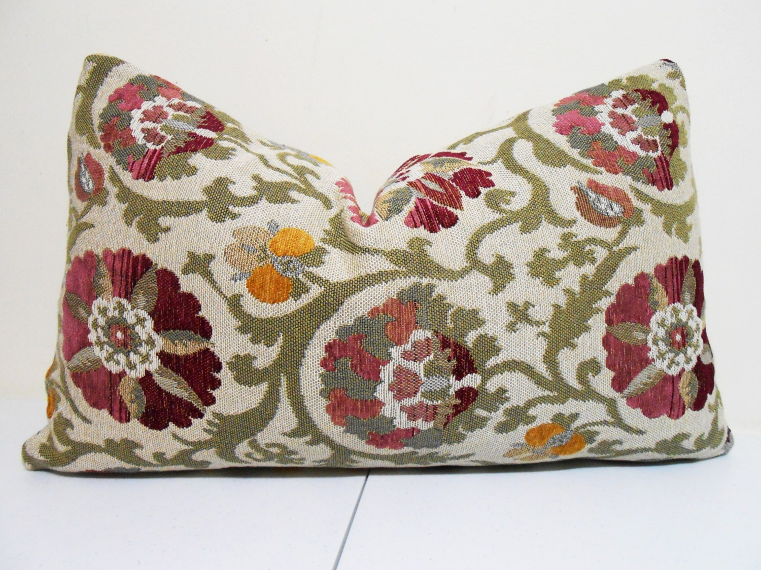 Plum Suzani Decorative Lumbar Pillow Cover Duralee Tapestry