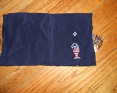 1940's -50''s vintage men's scarf.  CISCO brand Navy acetate with embroidered chess piece horse head goblet