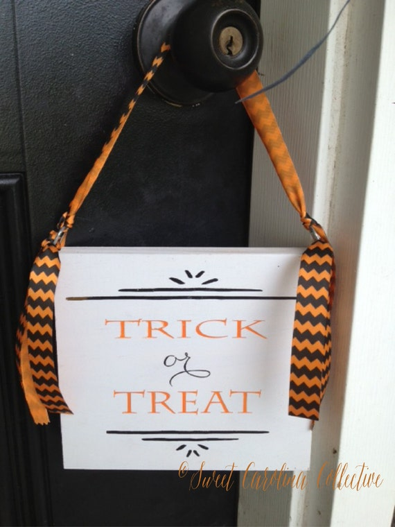 Decorating Ideas > Trick Or Treat Halloween Door Hanger By SweetNCCollective  ~ 160801_Halloween Door Tricks