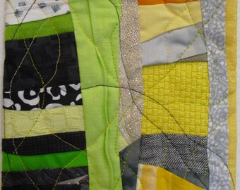 Fiber Art, Wall Hanging,collage,Small art quilt series,Modern Quilt,contemporary art,lime green, yellow,black grey,redirected materials.