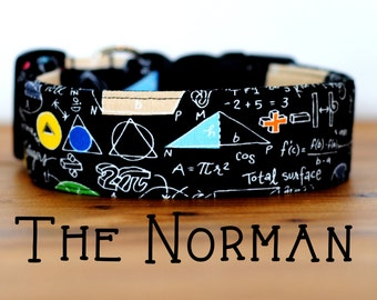 "Black Geeky Math Dog Collar ""The Norman"""