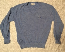 """Vintage Men's Pickering Blue Country Club """"The Plantation"""" Knit Vneck Sweater XL"""