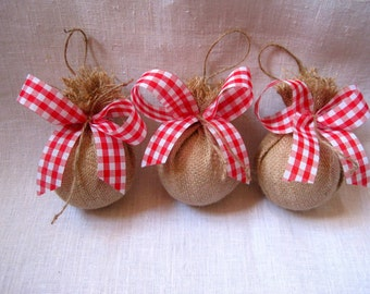 Rustic burlap ornaments ,Christmas tree ornaments , burlap balls ,decorative pendants ,holiday decorations ,gift