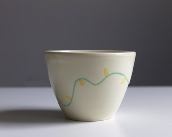 Wheel thrown pottery Unique ceramic cup Mishima Green and Yellow flowers  - ready to ship
