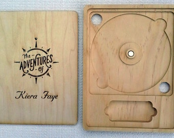 Custom CD/DVD Case with USB pocket, laser etched wood, personalized with graphic image or photograph (text optional)