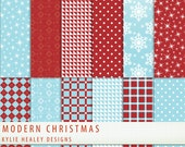 Modern Christmas Digital Paper -   Blue Red  - Holiday - 12 Sheets - Scrapbooking Commercial   Instant Download & Printable G1130