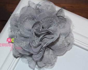 CLEARANCE Gray Lace Chiffon Flower Clip