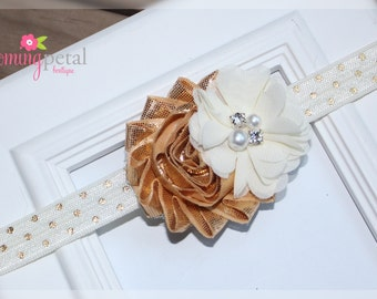 Metallic Gold/Ivory Shabby Chic Newborn Infant Flower Headband