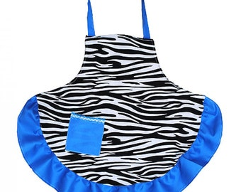 Personalized  Adult Zebra Apron with Turquoise Accents   ZEB385-TURQUOISE
