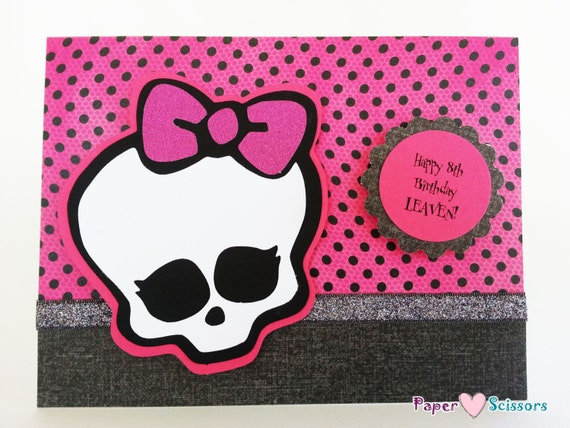personalized monster high greeting card / happy by cakesnthanks, Birthday card