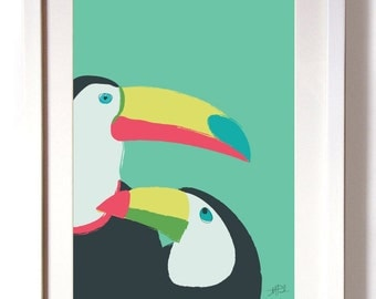 Poster Print Art Pink Toucans Digital Print A4 or A3