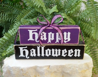 Happy Halloween Fun and Cute Wood Block Decor Sign Black Purple Fall