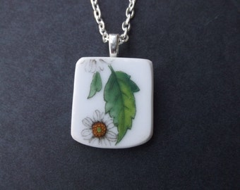 Broken Plate Necklace - Handmade White Flower necklace made from a recycled broken plate OOAK -- Pendant