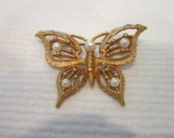 Vintage Gold Tone & Faux Pearl Butterfly Brooch
