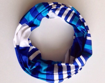 Children's blue and white jersey infinity scarf - ultra light weight