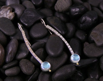 Blue Topaz Hammered Curve Earrings