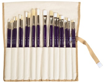 24 Piece Artist Paint Brush Set with Canvas Brush Holder (Dark Brown or Dark Purple Handles)