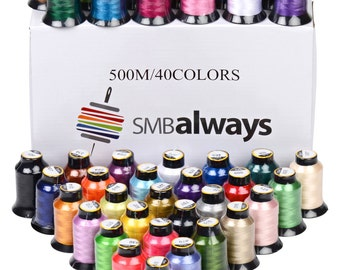 100% Polyester Embroidery Machine Thread Set, 40 Spools, Beautiful colors