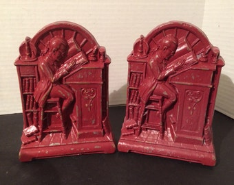 Syroco 1930s Vintage Bookends Scholar handpainted Distressed