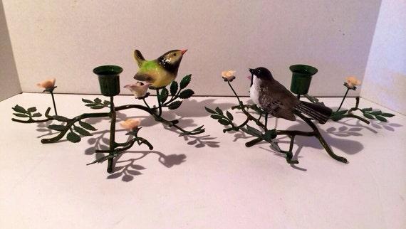 Birds floral branch centerpiece metal by vintageloveantiques
