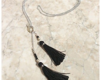 N625 - Long Silver Chain Necklace - Black Tassel - Long Tassel Necklace - Boho Jewelry - Claribella