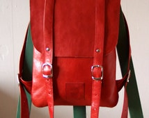 Hot red leather backpack rucksack / To order