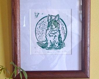 Dewey the Corgi, original lino cut print, matted, framed, ready to hang!