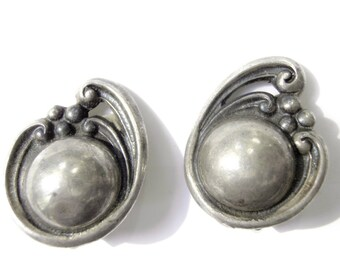 Art Deco Earrings 980 Sterling Silver Rubi Ramirez Taxco Mexico, Rancho Viejo, 1930s Vintage